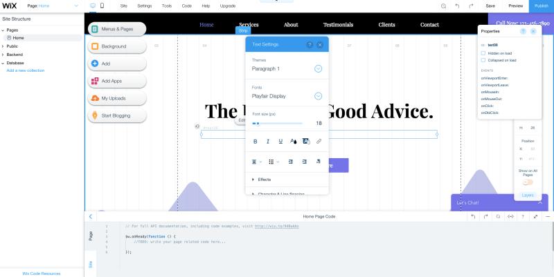 Wix website builder menu overwhelm