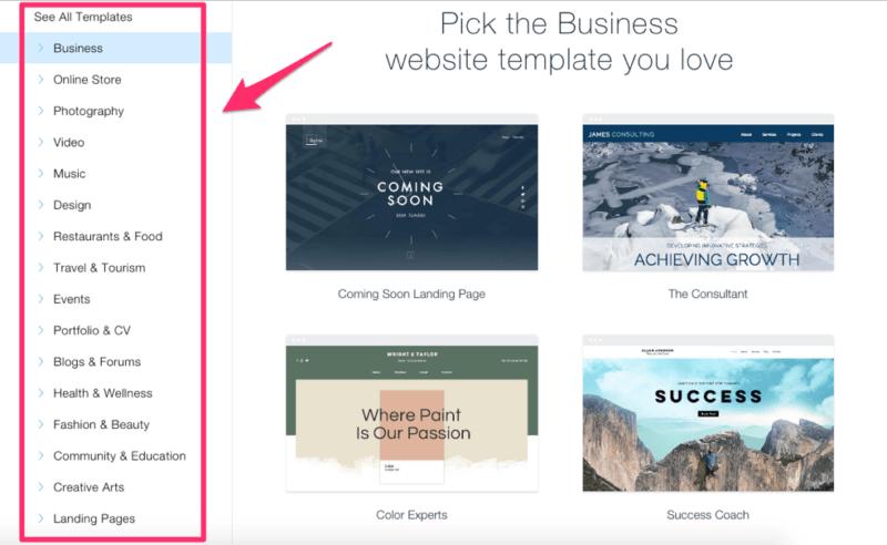 Wix Website template categories