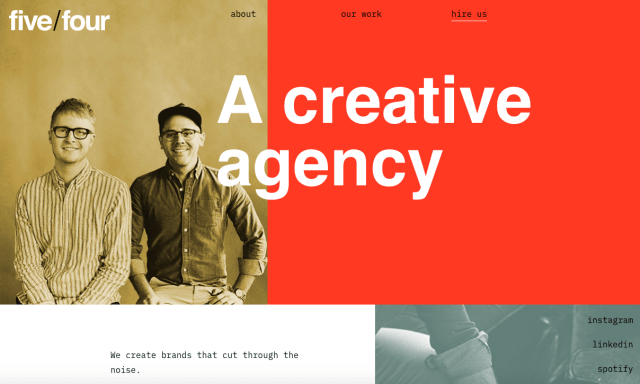 Red color palette for a creative agency website