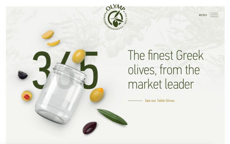 Modern olive website colors