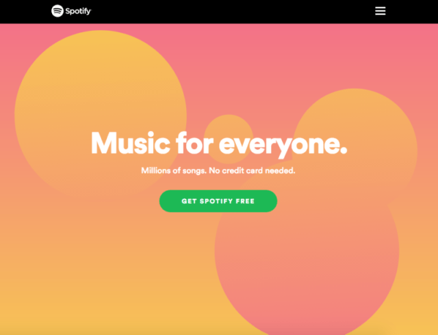 Spotify homepage 2019 with retro modern color palette