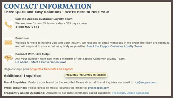 Zappos Call Center Info