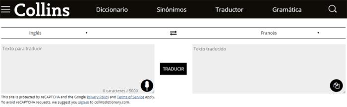 Traductor online Collins