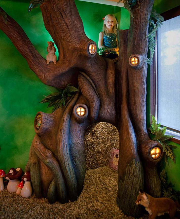 Dad Turns Daughter's Room Into Fairytale Treehouse