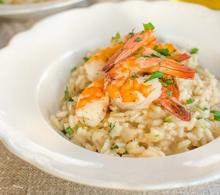 Parmesan Risotto with Roasted Shrimp