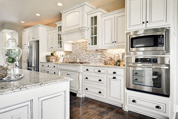 Quiet Corner Kitchen Ideas  Antique White Cabinets