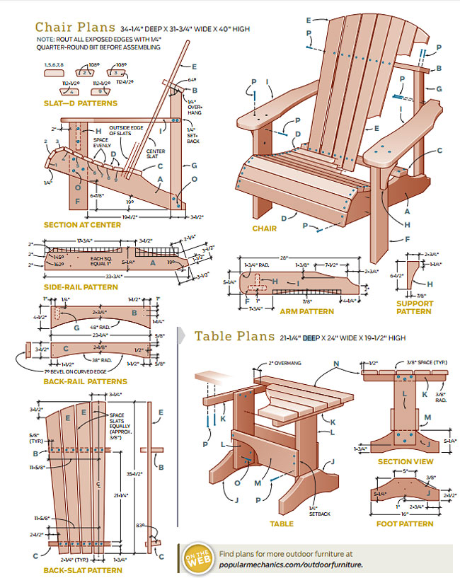 Quiet corner diy adirondack chair and table quiet corner for Adirondack side table plans