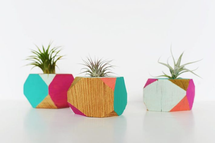 DIY Colorful Wooden Geometric Planters