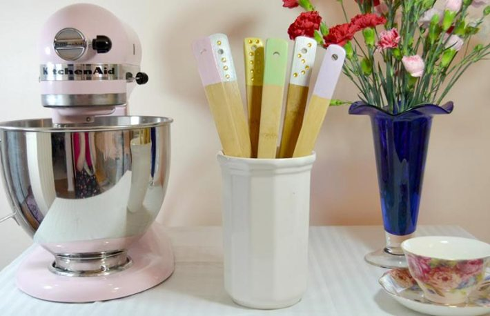 Easy DIY - Dipped & Embellished Wooden Utensils
