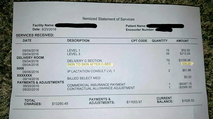 Mom Charged $39.35 to Hold Her Baby After Birth