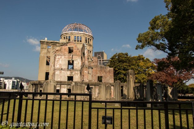 The A bomb dome. The first use of atomic weapons occurred here, directly above this spot.