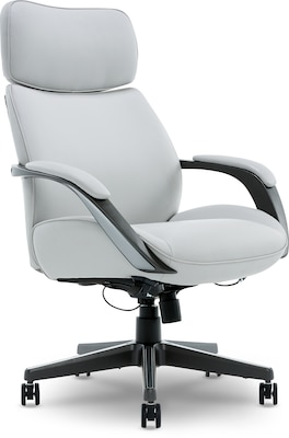 beautyrest colton bonded leather executive chair light gray 60034