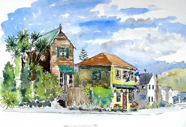 Street Scene, Akaroa, Sold