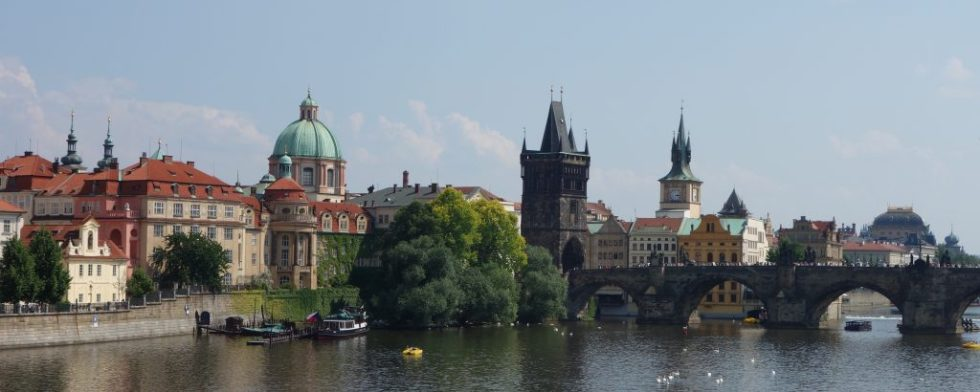 Charles Bridge and part of the Prague skyline