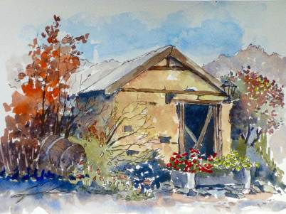 Cob hut, Alexandra, relies more on the quality of the painting.