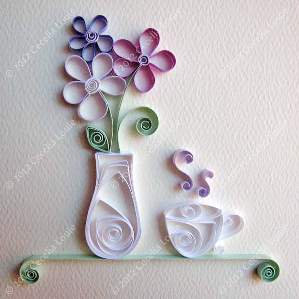 tea cup and vase paper quilling tutorial - Paper Zen