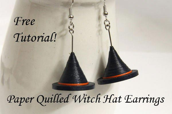 Halloween Paper Quilling Witch Hat Earrings Tutorial