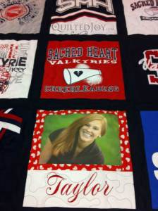 Photo Block for cheerleading tshirt quilt