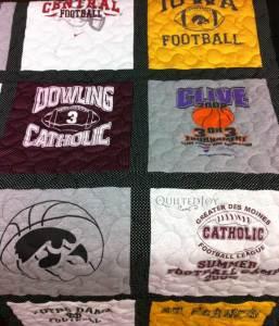 T-shirt quilt blocks football
