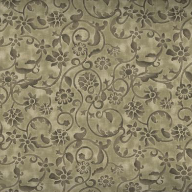Dense tone on tone floral and vine pattern in khaki. Available at QuiltedJoy.com