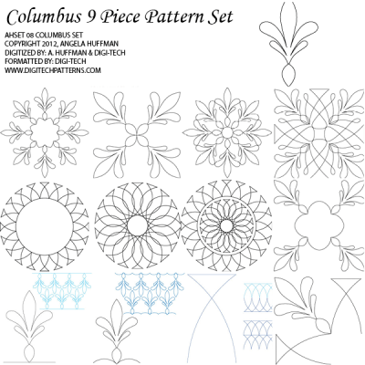 Columbus 9 Piece Pattern Set by Quilted Joy