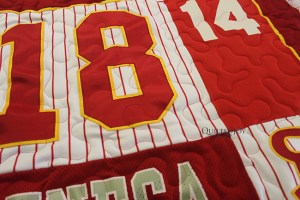 Jersey T-Shirt Quilt, quilted by Angela Huffman