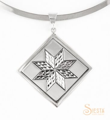 Large Lemoyne star sterling silver pendant by Siesta Silver Jewelry. Available at QuiltedJoy.com