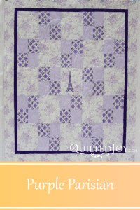 We're calling Sher's alternating four patch the Purple Parisian. Angela Huffman quilted with the Funky Fleur de Lys Pantograph - QuiltedJoy.com