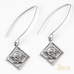 Basket Block sterling silver earrings on a long wire from Siesta Silver Jewelry. Available at QuiltedJoy.com