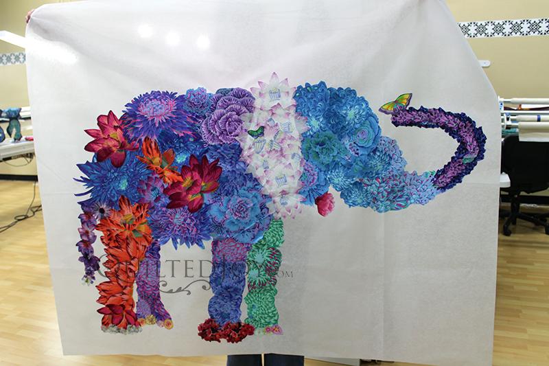 Laura Heine Lulu Elephant Fabric Collage Quilt