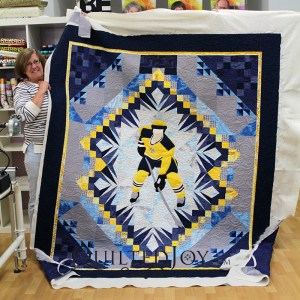 Judy made this incredible Nashville Predators quilt for her son. Such an amazing quilt!