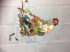 Hen Rietta Chicken, a Laura Heine Fabric Collage Quilt