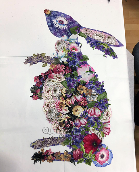 Hip Hop Rabbit, a Laura Heine Fabric Collage Quilt