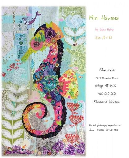 Laura Heine Mini Havana Seahorse Fabric Collage quilt pattern by Laura Heine