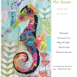 Laura Heine Mini Havana Seahorse Fabric Collage quilt pattern by Laura Heine
