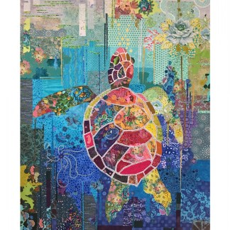 Seawell Sea Turtle Fabric Collage quilt by Laura Heine