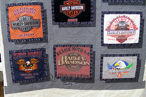 What do you collect when you travel? Joanne's friend collects Harley Davidson shirts and asked her to make him a T-shirt quilt. Here's how I quilted it!