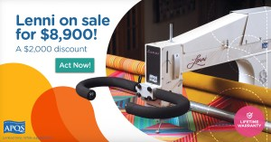 APQS Lenni Longarm Machine on sale for $8,900