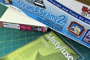 Fusible interfacings, Fusi-Bond Lite, Steam a Seam 2, and Misty Fuse Black