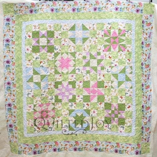 Mary Jo's Sampler Quilt with spring greens and butterflies