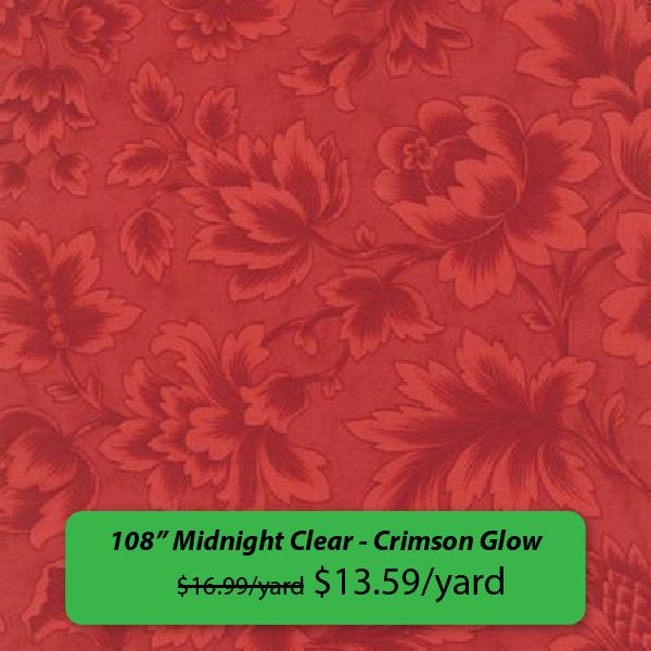 """108"""" Midnight Clear - Crimson Glow was $16.99/yard, now $13.59/yard"""