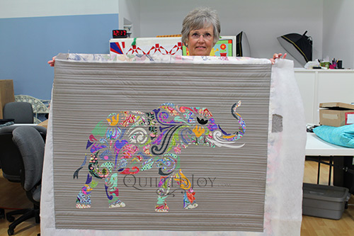 Holi Ganesha Elephant Quilt longarm quilted with straight lines at Quilted Joy