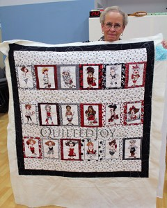 Cherri's Salon Panel Quilt after renting a longarm quilting machine at Quilted Joy