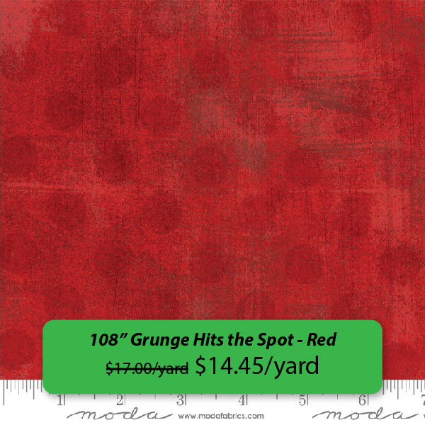 """108"" Grunge Hits the Spot - Red, was $17.00/yard, on sale for $14.45/yard"" Feb 14-18, 2019 only"