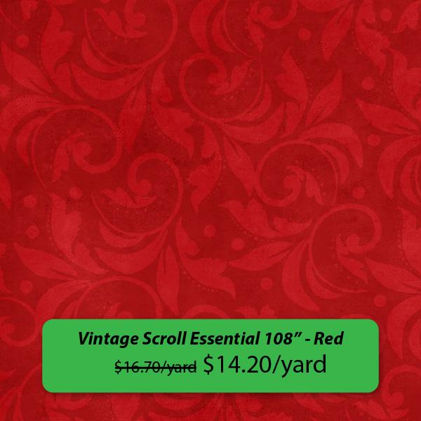 """Vintage Scroll Essential 108"" - Red was $16.70/yard, on sale for $14.20/yard"" Feb 14-18, 2019"