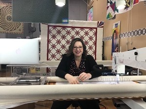 Angela Huffman during the first ever Quilted Joy Clubhouse Live Guild Meeting