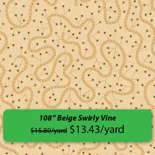 """""""108 inch Beige Swirly Vine"""""""