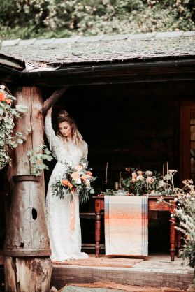 ethereal glamorous bride with Folklore fabric