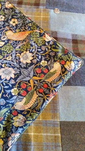 Harris Tweed patchwork quilt backed with William Morris; The Strawberry Thief.