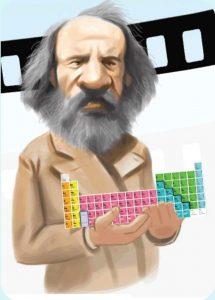 Dmitri Mendeléyev tabla periódica caricatura